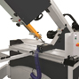 Pneumatic clamping system for straight and bevel cuts, adjustable length